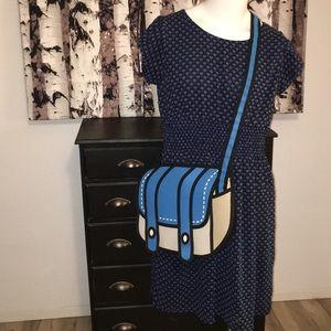 Art Deco shell print blue and white dress
